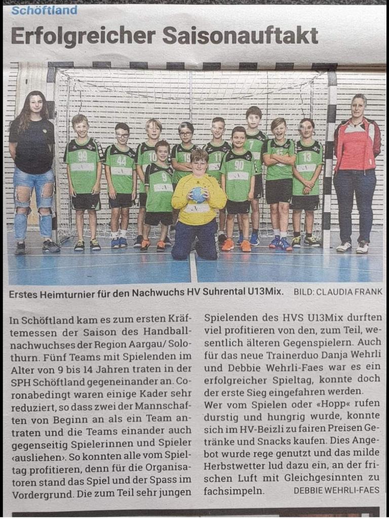 HV Suhrental MU13 Zeitungsbericht Saisonauftakt